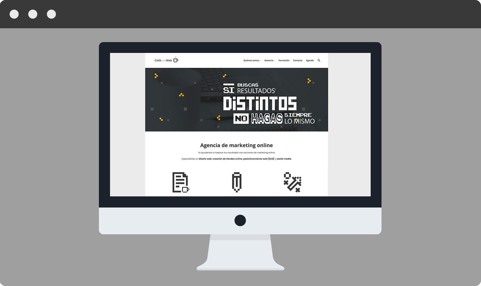 Mock up de la página de inicio de cafeconweb.es