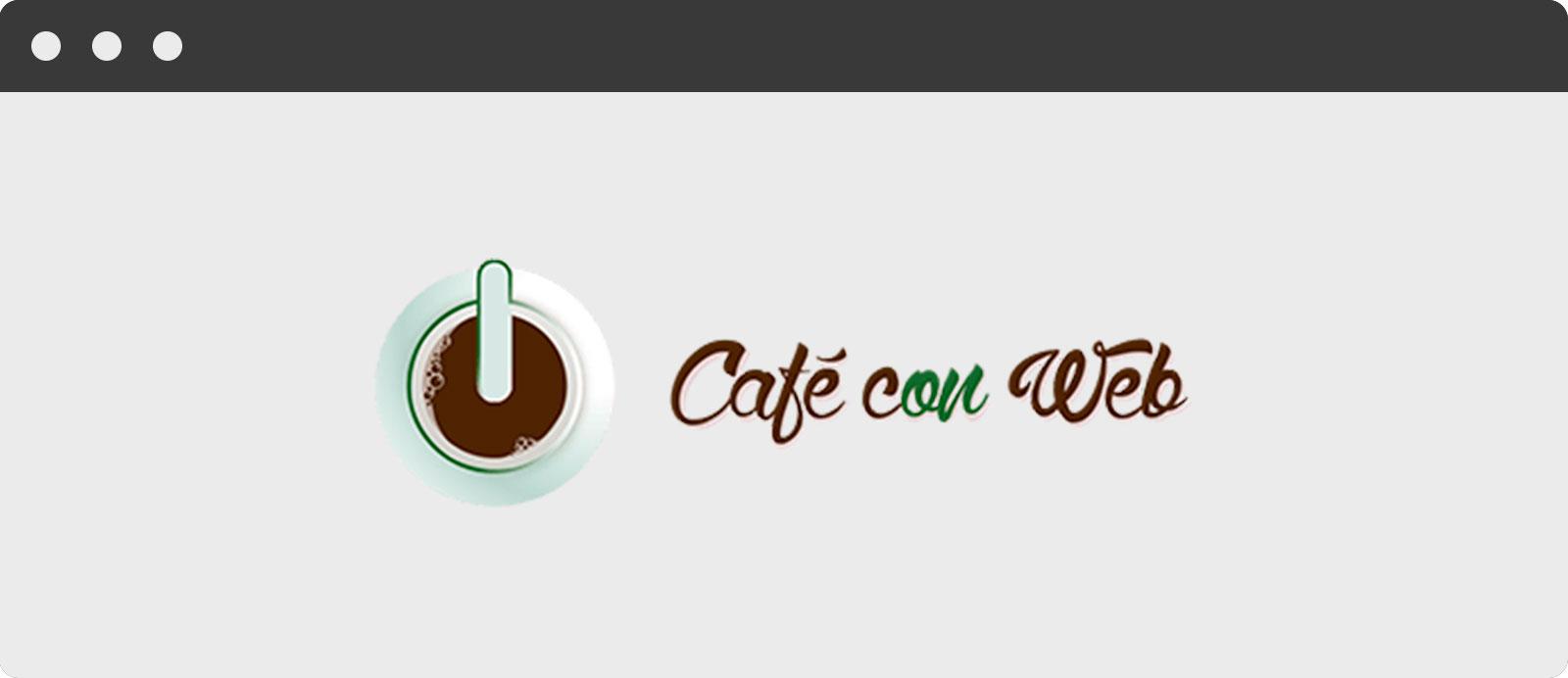 Antiguo imagotipo o logotipo (identidad corporativa) de Café con Web: agencia marketing online, diseño web y seo desde Zaragoza