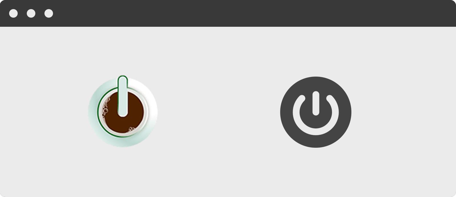 """Comparativa de los símbolos de Café con Web y """"On"""""""